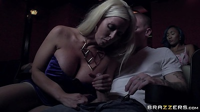 Big boobs milf Alura Jenson sneaky blowjob right in the theater