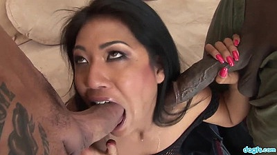 Horny asian big dick blowjob with 2 on 1 plowing Lyla