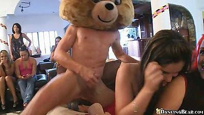 Dancing bear entertaining the Fiance
