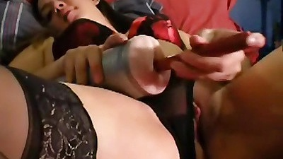 Chick inserts fingers into pussy and fleshlight