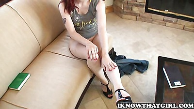 Hot redhead gf with no underwear on couch
