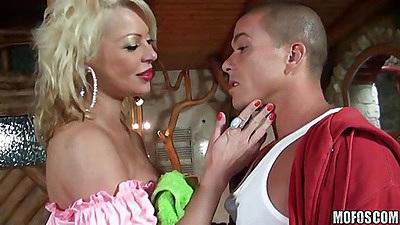 Busty blondie working her blonde magic