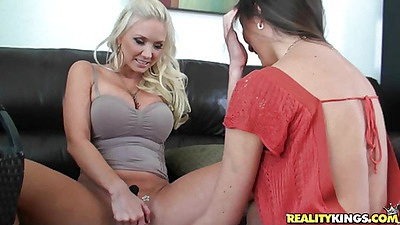 Sexy big tits Molly and Angelica lesbians on couch