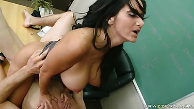 Busty teacher Ms Adams mounting student on desk