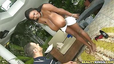 Super large natural tits on ebony babe