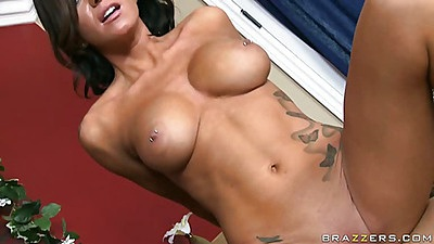Milf jumping and her tits are bouncing