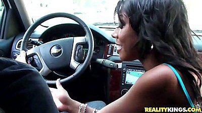 Ebony babe Megan wearing no panties