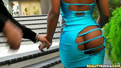 Sexy tight dress on ebony babe with no panties