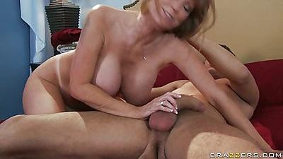 Big tits housewife Darla sucks dick and titty fucks cock