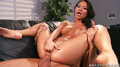 Double penetration with busty asian hottie