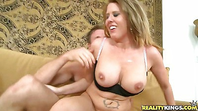 Milf sucks dick reaching around and tits hanging down