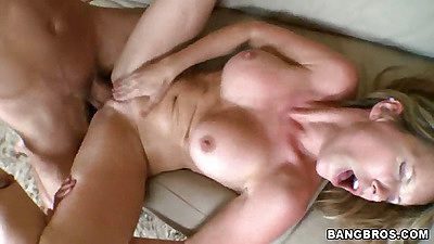 Big tits milf fucked with legs open on bed