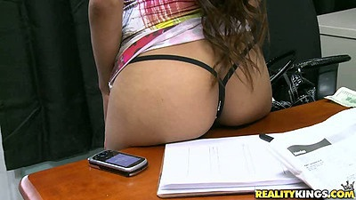A great audition with a cute teen latina in sexy small dress