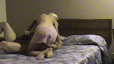Cheating blonde wife Janice fucked from the front on the bed