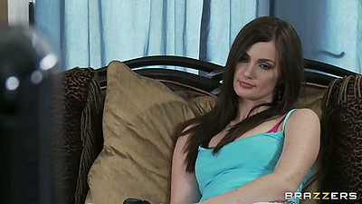 Lily Carter cute teen wearing tight white shorts