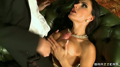 Titty fucking Honey Demon while wearing suit and dress