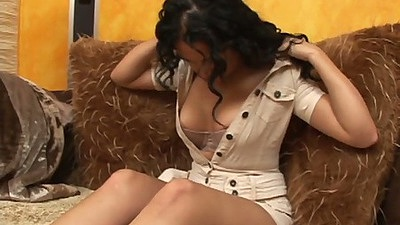 Natural tits latina girl Lia Lopez undresses and blows some shaft