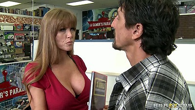 Hot mature milf with big tits Darla Krane makes guy eat her boobs