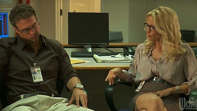 Blonde milf jessica drake in office having a chat