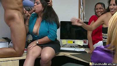 Big tits brunette getting a piece of dancing bears dick