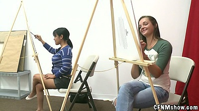 18 year old teen shaving an art lesson with male model