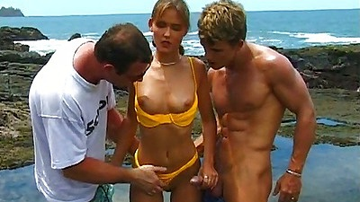 Nicolette doing her first sex scene outdoors with two guys