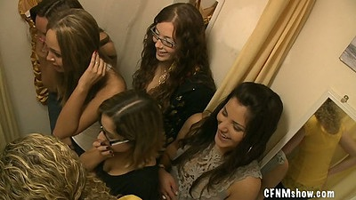 Group of sexy cfnm bitches and a blowjob in change room
