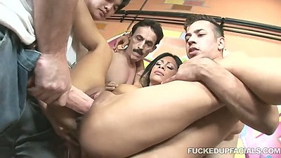 Gang bang with Cassandra Cruz getting ripped up during group fuck