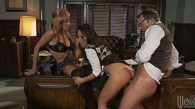 Asa Akira and Kirsten Price have threesome with deep throat in office