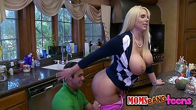Big tits milf and her daughter team up on guy in threesome with Karen Fisher