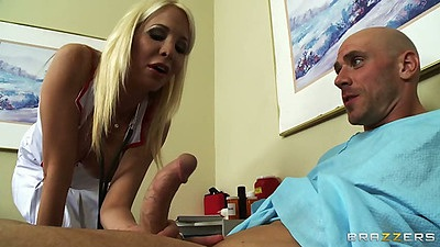 Blowjob from horny nurse Eden Adams as she touches big dick