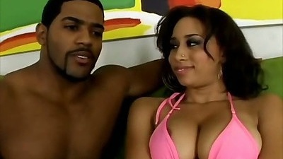 Big tits ebony Aurora Jolie getting tits robbed and sucks that cock