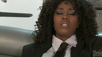 Ebony Misty Stone fucking own shaved pussy with dildo masturbation