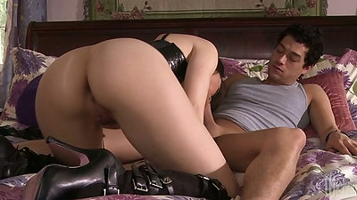 Blowjob from Dana DeArmond sucking balls and ass spreading cowgirl