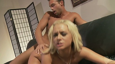 Briana Blair fucked like dog from behind and sideways with cumshot on face