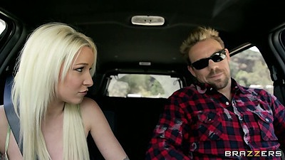 Blonde teen Stevie Shae going down on driver in the car outdoors