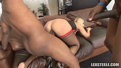 Interracial white milf Mellanie Monroe taking black cocks in her holes