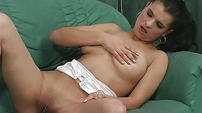 Solo big tits babe Lola masturbation with no panties on shaved vagina