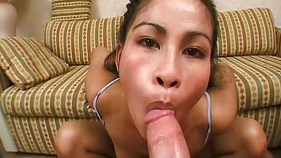 Pov blowjob with asian Mei Yu and shoving toes in her pussy and mouth