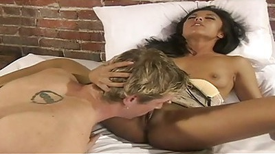 Pussy licking and blowjob from natural tits asian Kaylani Lei