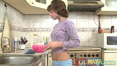 Lil Maya in the kitchen putting some food all over teen body
