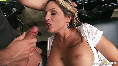 Big tits half dressed milf Angela Attison sucking and titty fucking cock