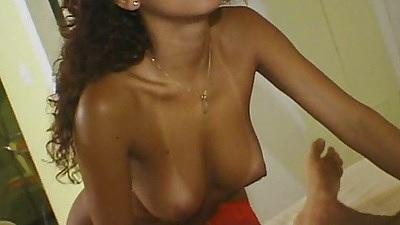 Medium tits latina Carol with tanlines joins group sex