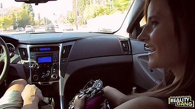 Frontseat teen hitchhiker pickup on public street Kymber Lee