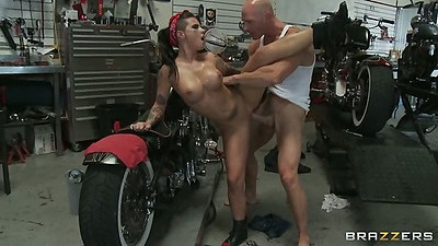 Standing fuck with Christy Mack on a motorcycle all naked