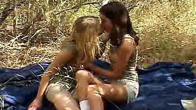18 year old lesbian chicks with Chloe18 making out outdoors
