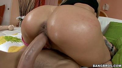 Cowgirl oil sex with Brandi Love on dick