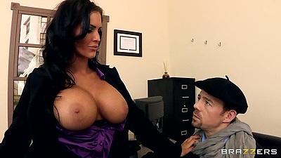 Big tits half dressed Jenna Presley in office getting her panties pulled down