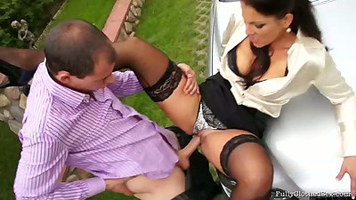 Fully clothed sex with Valentina Ross outdoors with pulled aside panties