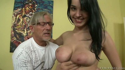 Brunette good looking Naomi S sucking and titty fucking penis